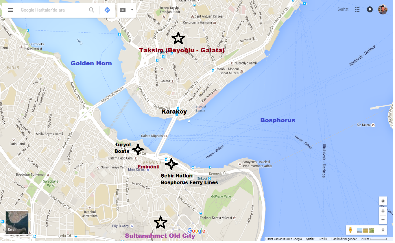 Ferry Dock Map For Bosphorus Tours.