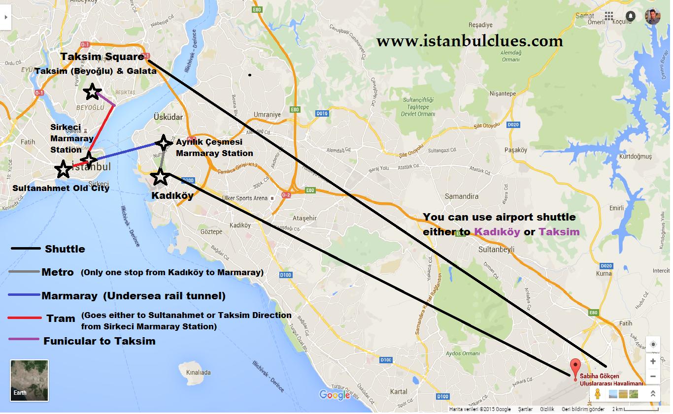 Istanbul Sabiha Gokcen Airport to Taksim & Sultanahmet Map