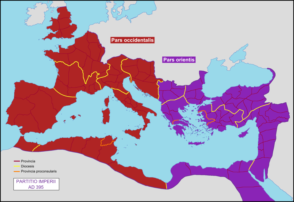Division Of The Roman Empire As East And West