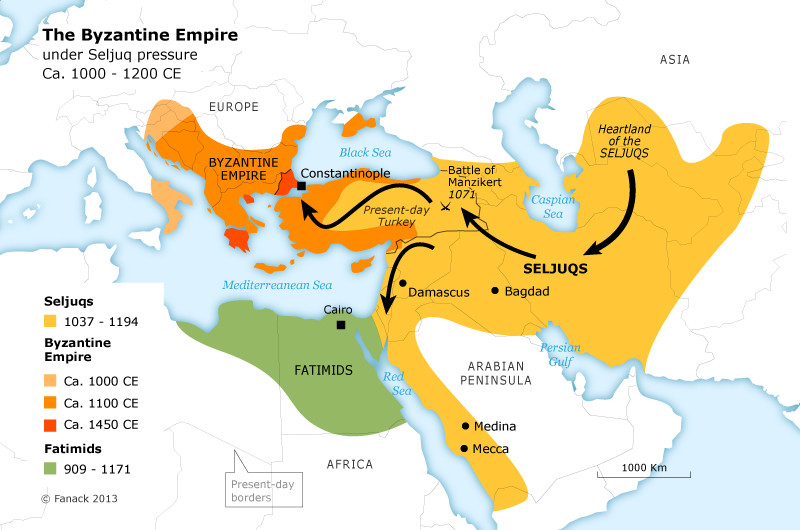 The march of Seljuk Turks from Asia to the eastern borders of Byzantine Empire. Batlle of Manzikent also marked in the map. That battle opened the gates of Anatolia to the Turks.