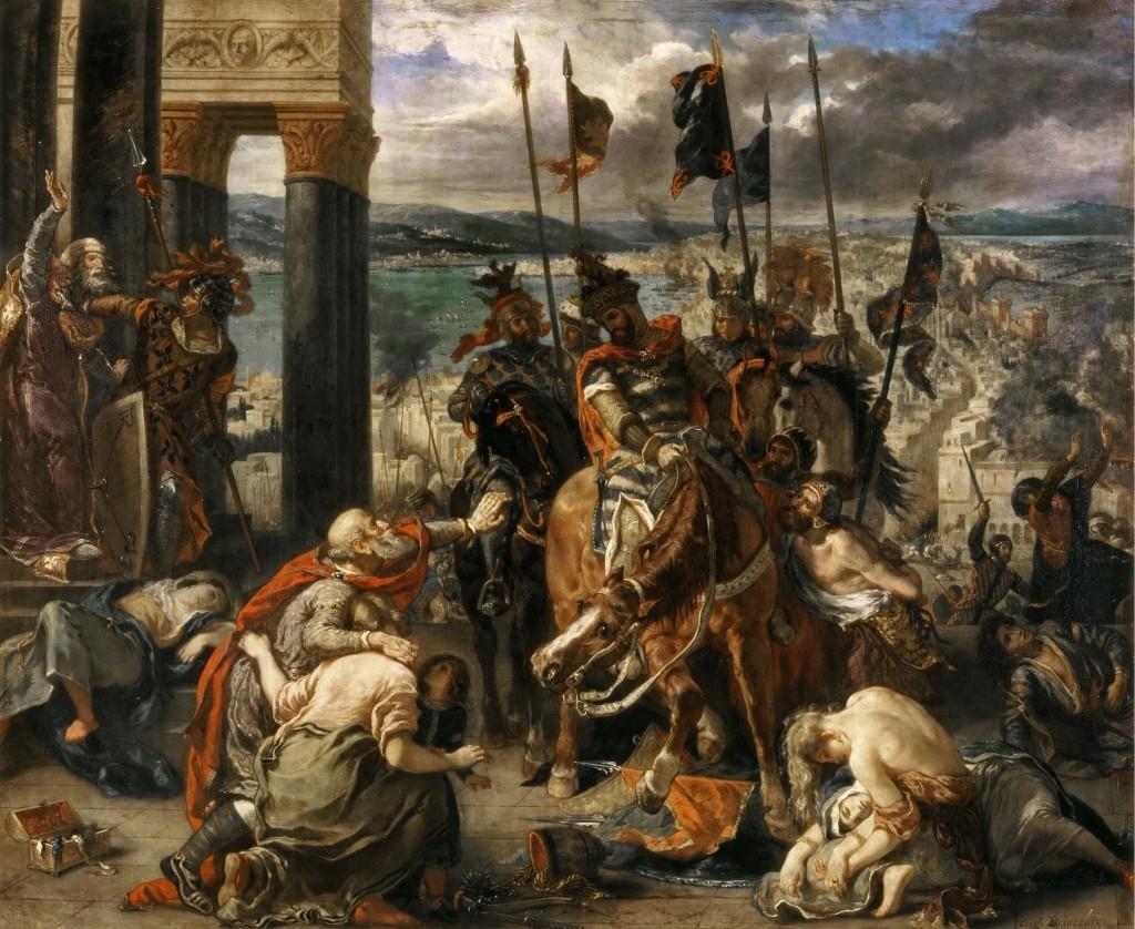 Siege of Constantinople depicted like this by famous painter Eugène Delacroix - Louvre Museum in Paris.