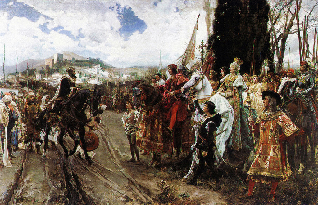 "Great painting from Francisco Pradilla depicting ""Fall of Granada"" to Isabel and Ferdinand."