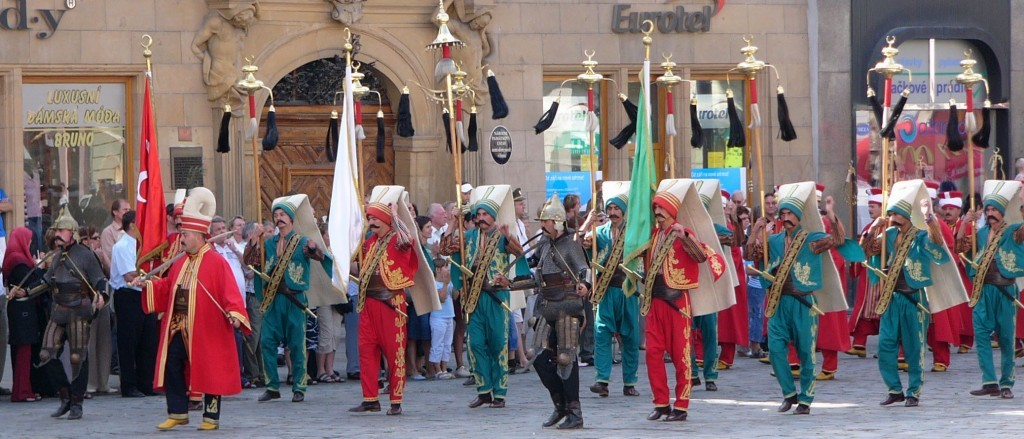 Ottoman army band: Mehteran is still performing once a week in Topkapı Palace. They look like Janissary soldiers.