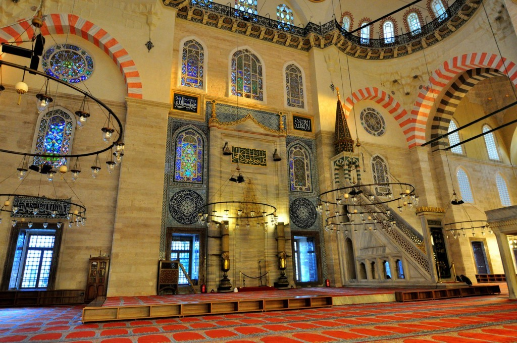 Magnificent colours of center of the Mosque. You may see Mihrap (Altar) and Mimbar (Pulpit)