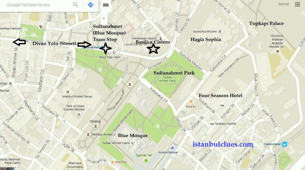 Location of Basilica Cistern and surrounding sightseeing places in Sultanahmet Map.