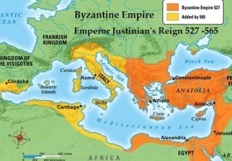 Byzantine Empire Map Emperor Justinian's Greatest Extent