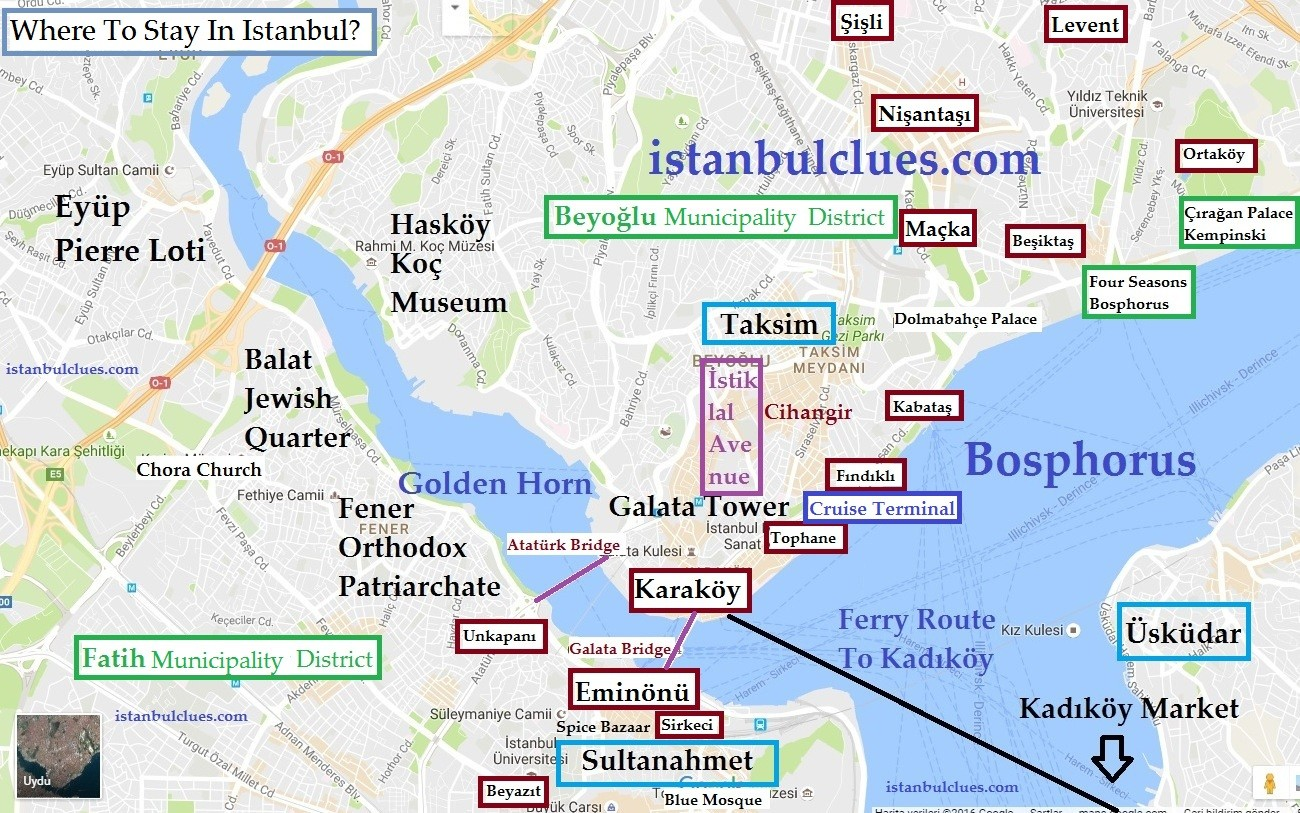 Where To Stay In Istanbul Hotel District Map