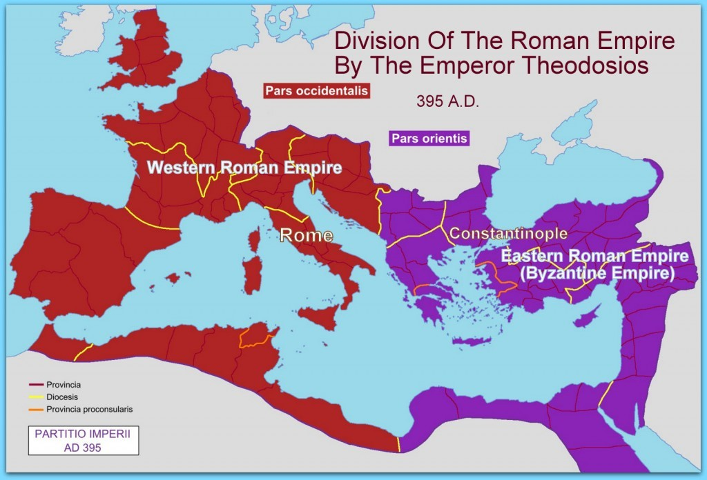 Partition Of The Roman Empire East And West 395 AD