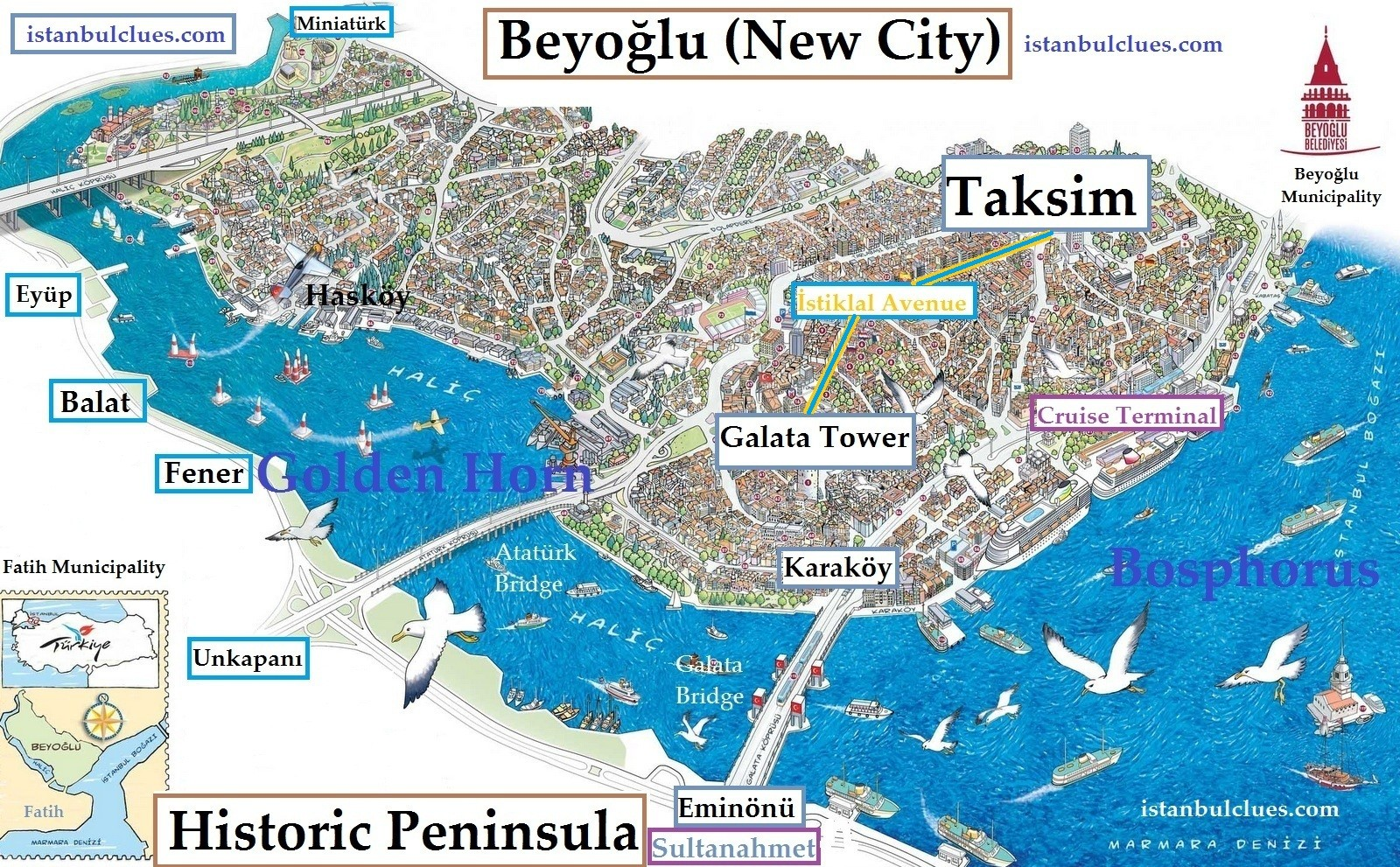 Istanbul Tourist Map, Attraction-Sightseeing PDF 2019 - Istanbul Clues