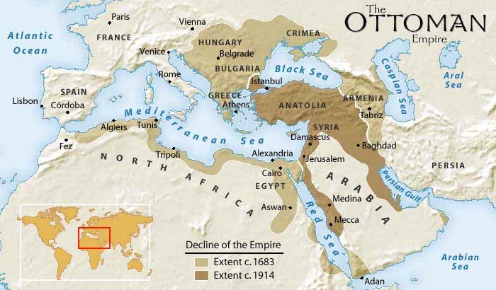 Map Of Ottoman Empire Decline from 1800 to 1914