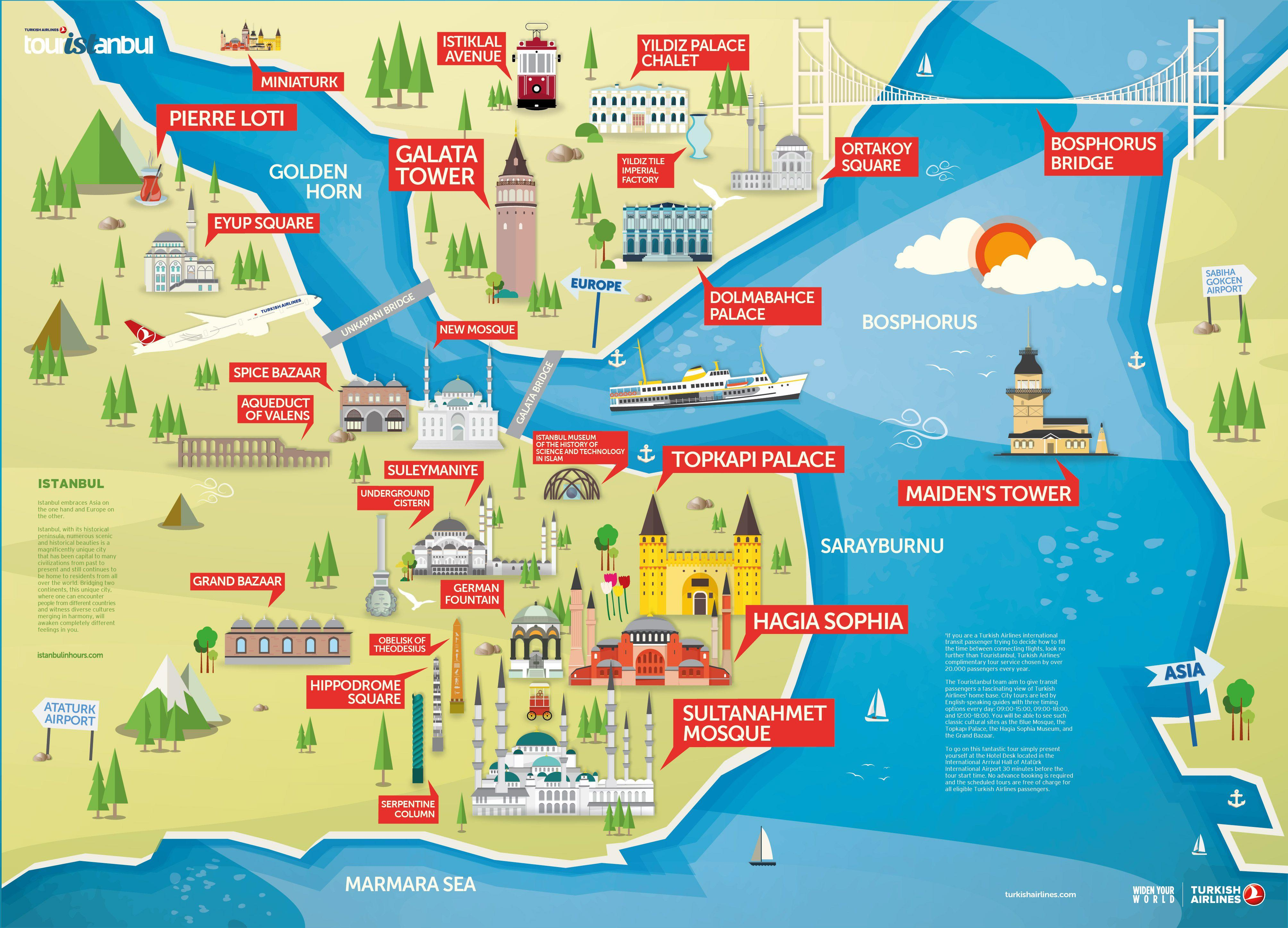 Istanbul Tourist Attractions Map PDF - Istanbul Clues